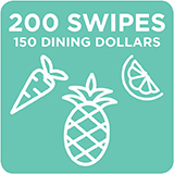 200 Swipes + 150 Dining Dollars $1,984.00
