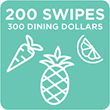 200 Swipes + 300 Dining Dollars $2,134.00