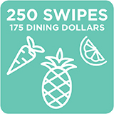 250 Swipes + 175 Dining Dollars $2,210.00