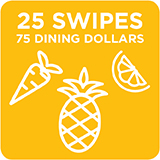 25 Swipes + 75 Dining Dollars $335.00
