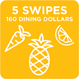 5 Swipes + 160 Dining Dollars $212.00